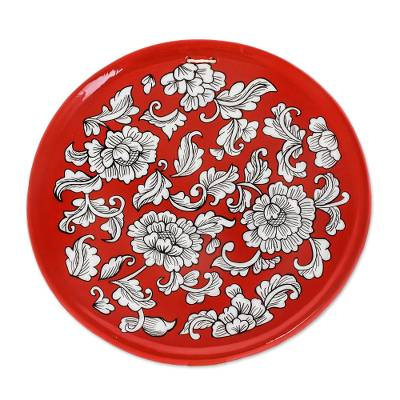 Floral Motif Ceramic Decorative Plate in Red from Guatemala