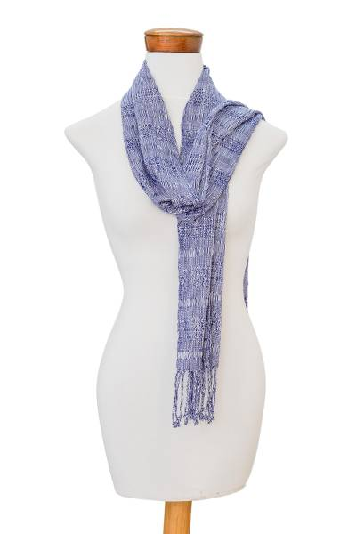 Rayon scarf, 'Jacaranda Flower' - Handwoven Rayon Scarf in Lapis and Snow White from Guatemala