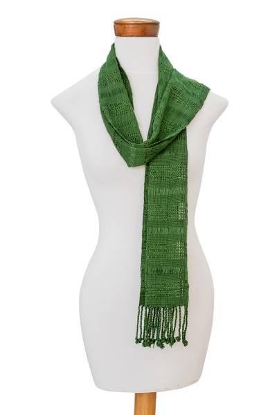 Rayon scarf, 'Leafy Forest' - Handwoven Rayon Wrap Scarf in Meadow and Forest Green