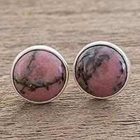 Rhodonite stud earrings,