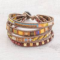 Glass beaded wristband bracelet, 'Sunrise Splendor' - Glass Beaded Wristband Bracelet Crafted in Guatemala