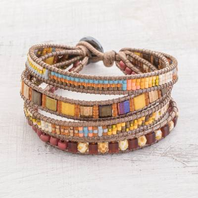 Glass beaded wristband bracelet, Sunrise Splendor