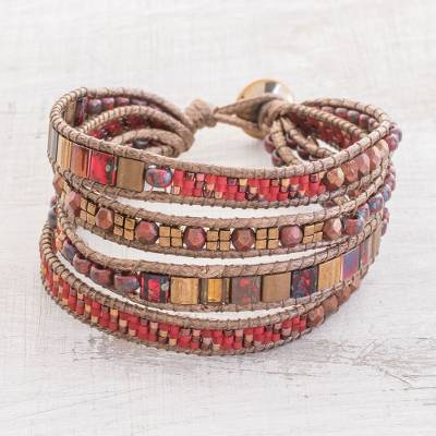 Glass beaded wristband bracelet, 'Sweet Fire' - Red and Brown Glass Beaded Wristband Bracelet from Guatemala