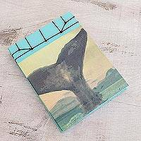 Paper journal, 'Beauty of the Ocean' (5.5 inch) - Whale-Themed Paper Journal from Costa Rica (5.5 inch)