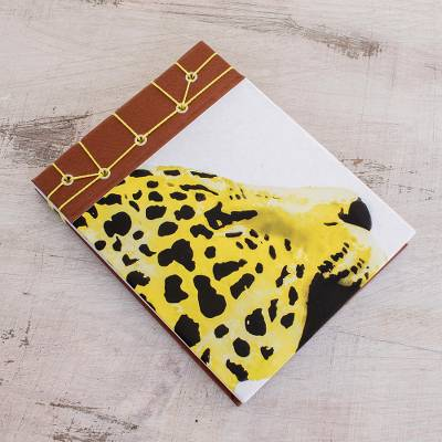 Paper journal, 'Yellow Cheetah' (5.5 inch) - Cheetah-Themed Paper Journal from Costa Rica (5.5 inch)