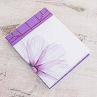 Paper journal, 'Lavender' (5.5 inch) - Lavender-Themed Paper Journal from Costa Rica (5.5 inch)