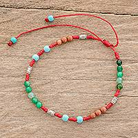 Multi-gemstone beaded bracelet, 'Multicolored Beauty' - Multi-Gemstone Beaded Bracelet in Red from Guatemala