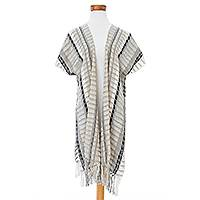 Cotton ruana, 'Time of Elegance' - Handwoven Striped Cotton Ruana from Guatemala