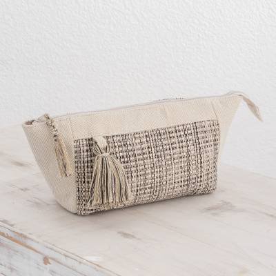 Cotton cosmetic bag, 'Natural Virtue' - Handwoven Cotton Cosmetic Bag in Ivory and Black