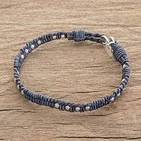 Fine silver and leather beaded wristband bracelet, 'Brilliant Orbs' - Silver and Leather Beaded Wristband Bracelet in Blue
