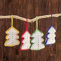 Hand-crocheted ornaments, 'White Rainbow Christmas Trees' (set of 4) - Hand-Crocheted Christmas Tree Ornaments (Set of 4)