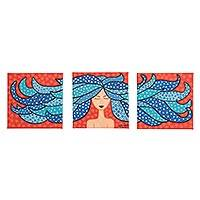 Triptych, 'Wind' - Signed Naif Triptych of a Woman with Blue Hair