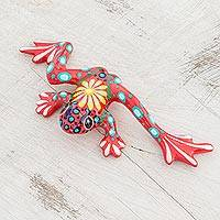 Ceramic figurine, 'Fiery Pond Frog' - Floral Ceramic Pond Frog Figurine in Red from Costa Rica
