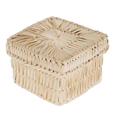 Handcrafted Square Palm Leaf Basket from Guatemala