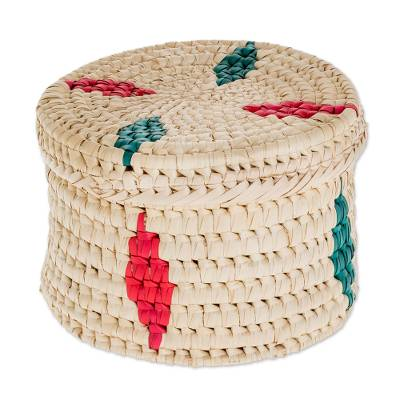 Round Colorful Palm Leaf Basket from Guatemala