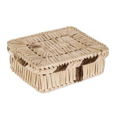 Handcrafted Rectangular Palm Leaf Basket from Guatemala