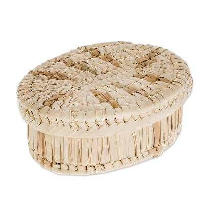 Handcrafted Oval Palm Leaf Basket from Guatemala