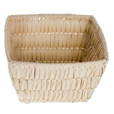 Handwoven Square Palm Leaf Basket from Guatemala