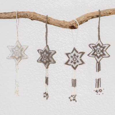 Glass beaded ornaments, 'Grey Fleeting Stars' (set of 4) - Glass Beaded Star Ornaments from Guatemala (Set of 4)