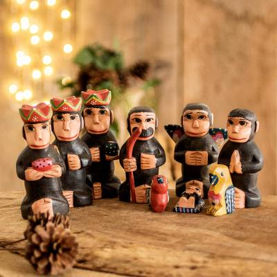 Wood nativity scene, 'Monkey Nativity' (9 piece) - Handcrafted Wood Monkey Nativity Scene (9 Piece)
