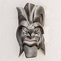 Resin mask, 'Boruca Warrior' - Silver-Tone Resin and Fiberglass Decorative Wall Mask