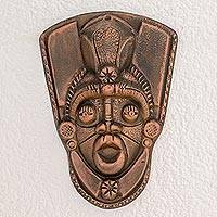 Resin mask, 'Taínos in Bronze' - Handcrafted Bronze Color Resin Decorative Wall Mask