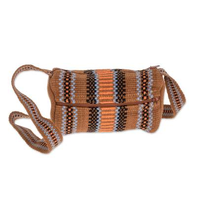 Burnt Sienna Striped Handwoven Cotton Shoulder Bag