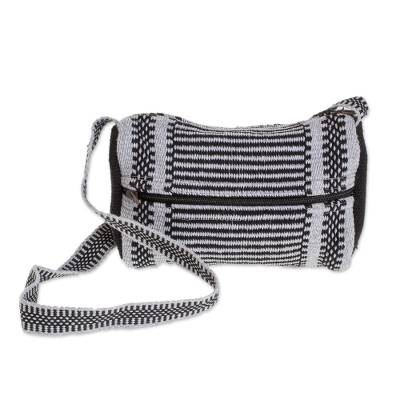 Black and Grey Striped Handwoven Cotton Shoulder Bag