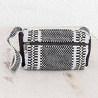 Cotton shoulder bag, 'Quick Jaunt' - Black and Grey Multi-Striped Handwoven Cotton Shoulder Bag