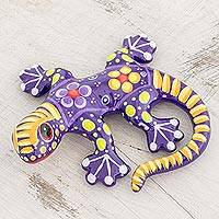 Ceramic figurine, 'Gecko of the Garden in Purple' - Hand Painted Purple and Yellow Floral Motif Ceramic Gecko