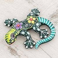 Ceramic figurine, 'Gecko of the Garden in Green' - Hand Painted Green Multi-Color Floral Motif Ceramic Gecko