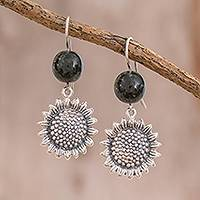 Jade dangle earrings, 'Sunflower Nature' - Jade Sunflower Dangle Earrings from Guatemala