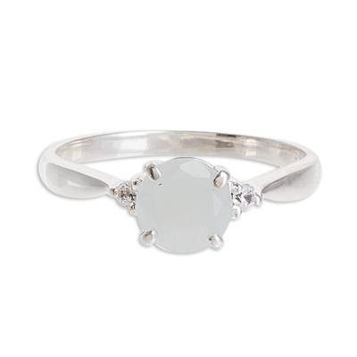 Natural Jade Solitaire Ring from Guatemala