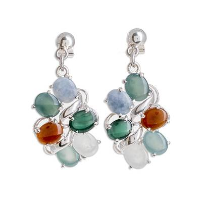 Colorful Jade Dangle Earrings from Guatemala