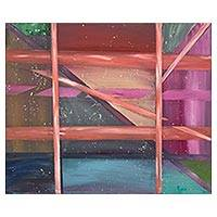 'Picture Window' - Signed Geometric Abstract Painting from Costa Rica