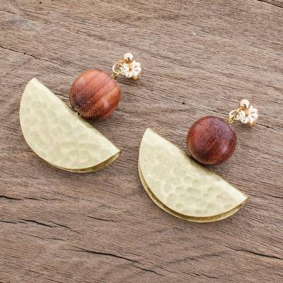 Brass and wood dangle earrings, 'Playful Textures in Brass' - Handcrafted Hammered Brass and Wood Bead Dangle Earrings