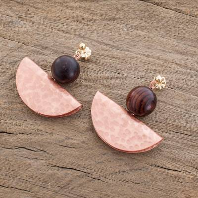Copper and wood dangle earrings, 'Playful Textures in Copper' - Handcrafted Hammered Copper and Wood Bead Dangle Earrings