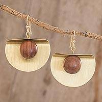 Brass and wood dangle earrings, 'Winking Moon in Brass' - Brass and Wood Bead Dangle Earrings with 18K Gold Hooks