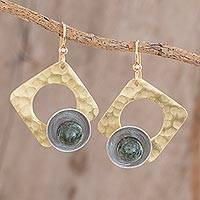 Jade dangle earrings, 'Juggling Shapes' - Jade with Brass and Aluminum Geometric Dangle Earrings