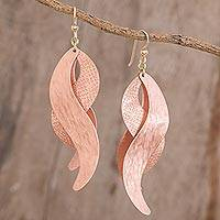 Copper dangle earrings, 'Copper Waves' - Handcrafted Textured Copper Layered Waves Dangle Earrings