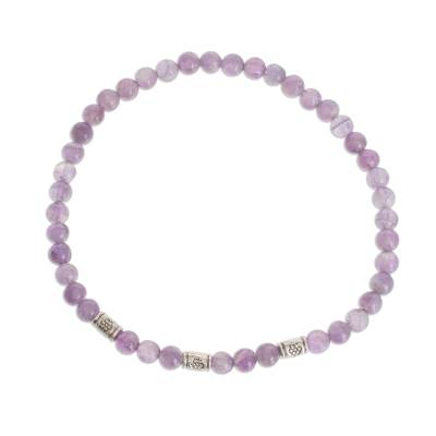 Amethyst and Sterling Silver Beaded Stretch Bracelet