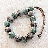 Ceramic beaded bracelet, 'Rock Pools' - Handcrafted Blue and Brown Ceramic Bead Adjustable Bracelet