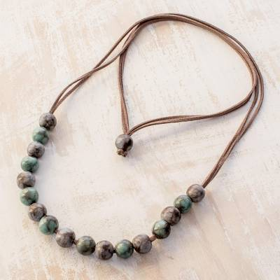 Ceramic beaded necklace, 'Rock Pools' - Handcrafted Blue and Brown Ceramic Bead Beaded Necklace