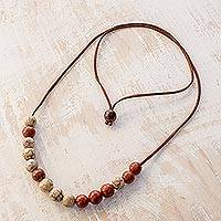 Ceramic beaded necklace, 'Mars Magic' - Handcrafted Orange and Beige Ceramic Bead Pendant Necklace