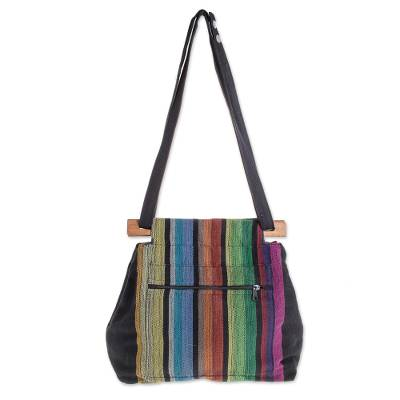 Colorful Striped Cotton Shoulder Bag from El Salvador