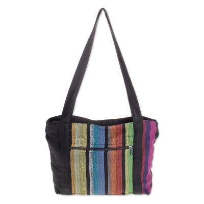 Colorful Vertical Stripes on Black Handwoven Cotton Tote Bag