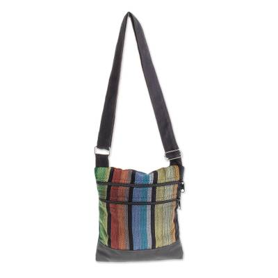 Colorful Vertical Stripes on Black Cotton Shoulder Bag