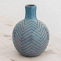 Ceramic decorative vase, 'Stellar Lines' - Handcrafted Blue Ceramic Decorative Vase from Nicaragua