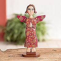 Wood statuette, 'Prayer of Love in Red' - Hand Carved and Painted Red Praying Angel Wood Statuette