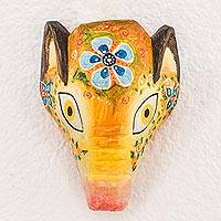 Wood mask, 'Floral Piglet' - Floral Pinewood Piglet Wall Mask from Guatemala